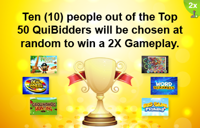 2X Gameplay QuiBids Top QuiBidder Reward