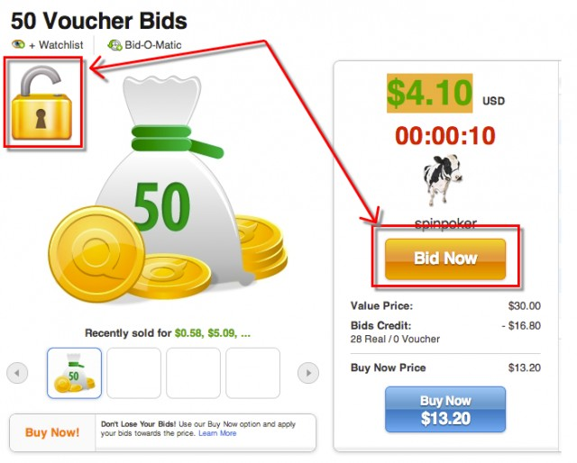 Locked Auctions on QuiBids