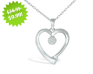 SS White Diamond Accent Heart Pendant 2013 Cyber Monday Deal on QuiBids