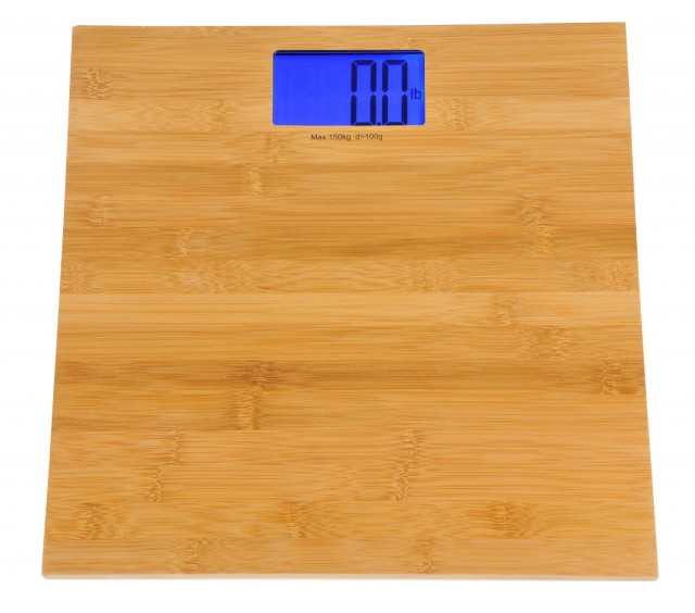 Kalorik electronic bamboo bathroom scale on QuiBids