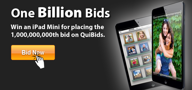 QuiBids iPad Giveaway to celebrate one billion bids
