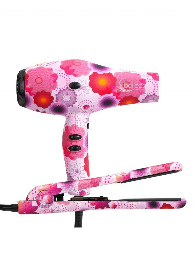 Belleza Flower Flat Iron and Hair Dryer set on QuiBids