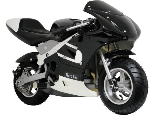 MotoTec MT-GP_Black Gas Pocket Bike - Black - QuiBids.com
