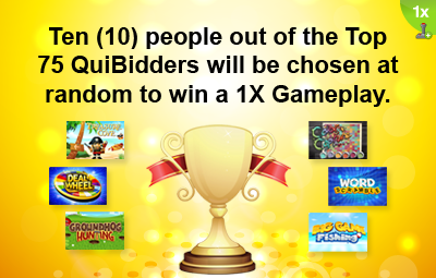 Top QuiBidders Rewards - 1X Gameplay - QuiBids.com