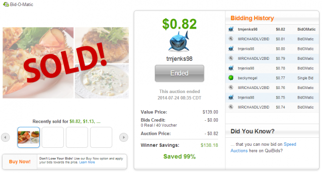 Jumbo Lobster Tail Dinner for Two - sold for $0.82 on QuiBids.