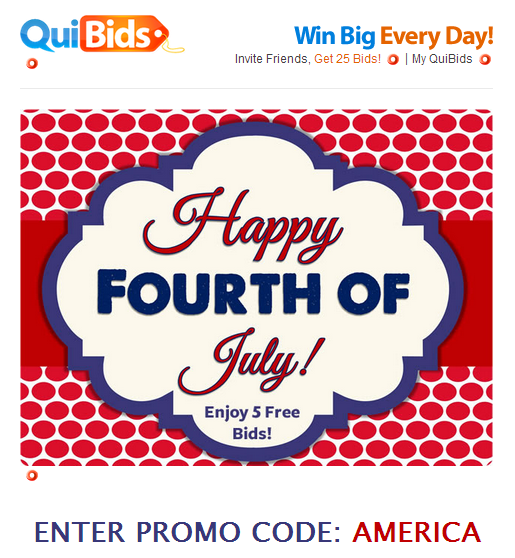 Get free bids promo codes by signing up for the QuiBids email newsletter