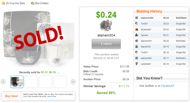 Cuisinart Marianne 16-Piece Dinnerware Set (plus 20 bids) sold on QuiBids.com for $0.24!