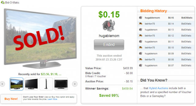 This LG 42-inch HDTV sold on QuiBids.com for $0.15!