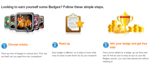 Earn badges on QuiBids and get free bids!