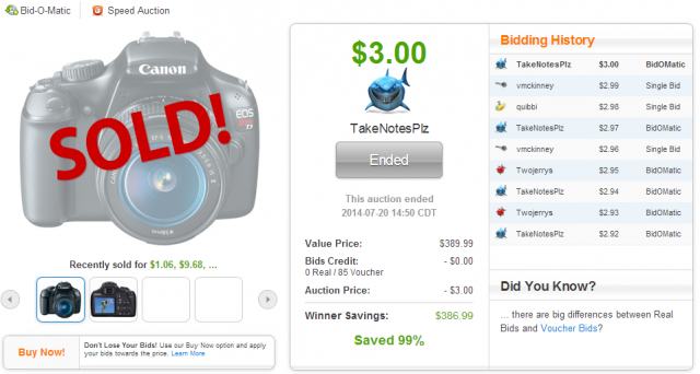 This Canon Rebel T3 DSLR Camera sold on QuiBids for $3.00!