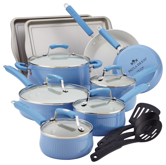 Paula Deen Aluminum Savannah Collection 17-Piece Cookware Set - Blueberry