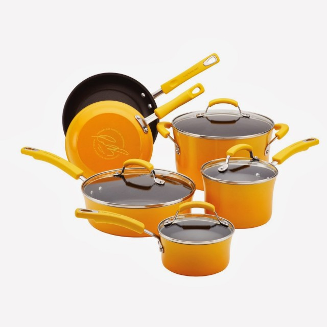 Rachael Ray 10-Piece Porcelain Enamel Nonstick Cookware Set - Yellow Gradient