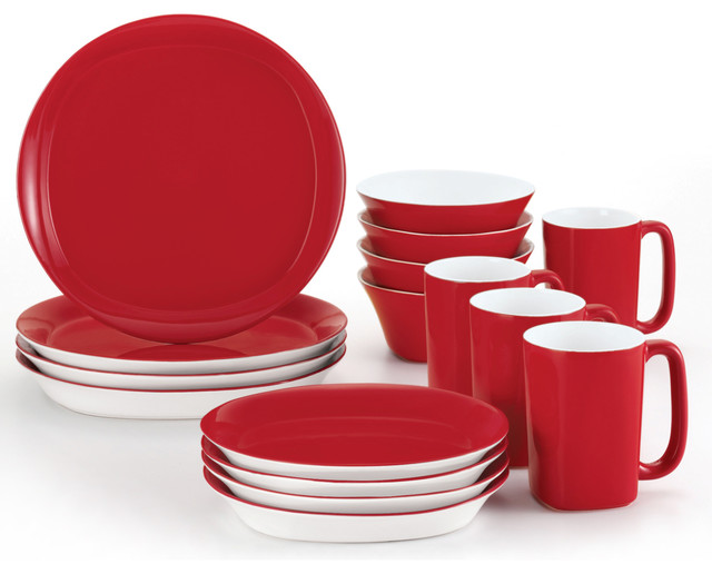 Rachael Ray Round and Square 16-Piece Dinnerware Set - Red