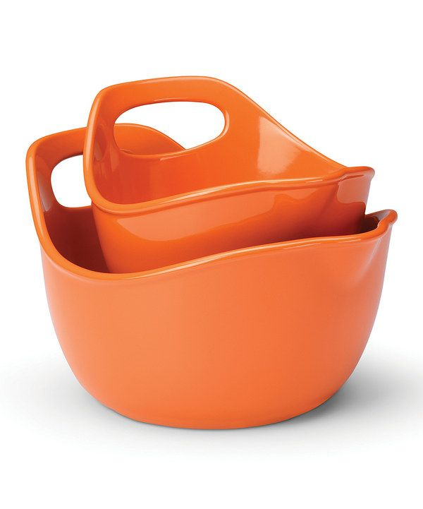 Rachael Ray Stoneware 2-Piece Mixing Bowl Set - Orange