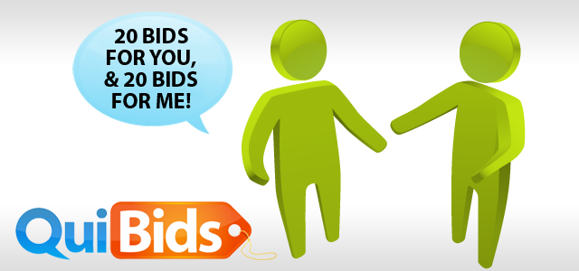 Refer a friend to quibids and you 39 ll each get free bids for Get bids