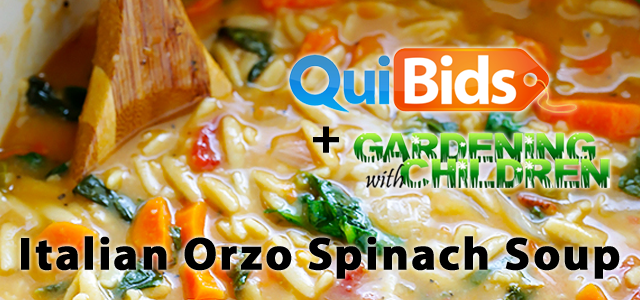 QuiBids and Gardening with Children Present Italian Orzo Spinach Soup