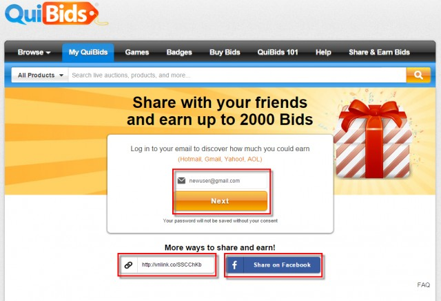 new ways to refer friends to QuiBids