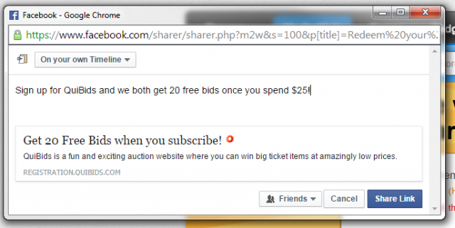 share quibids referral on facebook