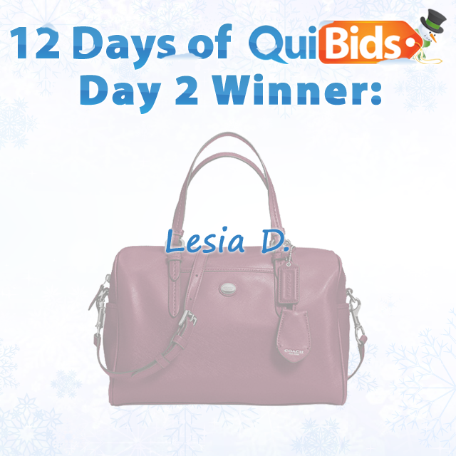 12 Days of QuiBids Giveaways - Day 2 Winner -  Lesia D.