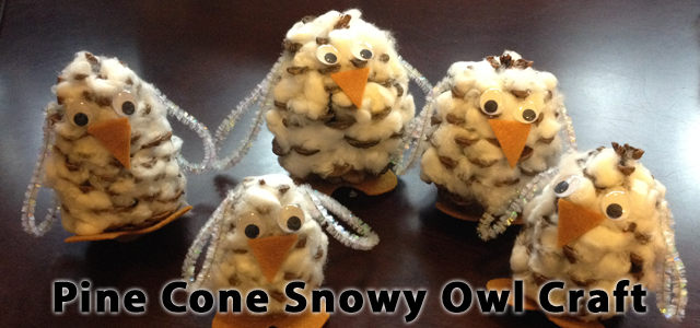 QuiBids and Gardening With Children Present Pine Cone Snowy Owls