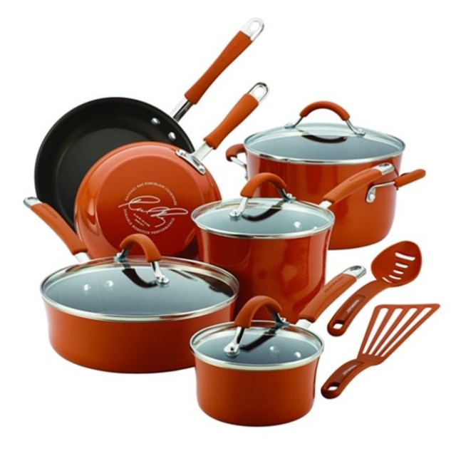 Rachael Ray Cucina Hard Enamel 12-Piece Nonstick Cookware Set - Pumpkin Orange - QuiBids.com