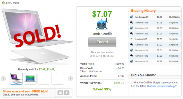 Apple MacBook Air sold for $7.07 on QuiBids