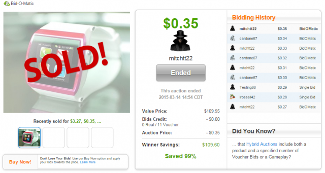 Kocaso Smart Watch Sold on QuiBids for $0.35!