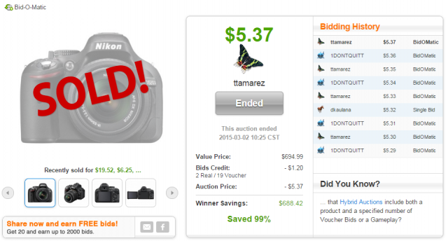 Nikon 24.1 MP DSLR camera sold on QuiBids for $5.37!
