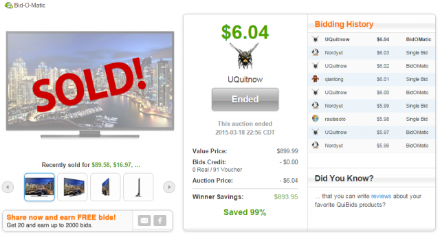 Samsung 40 inch 4k ultra hd smart led tv sold for 604 on QuiBids