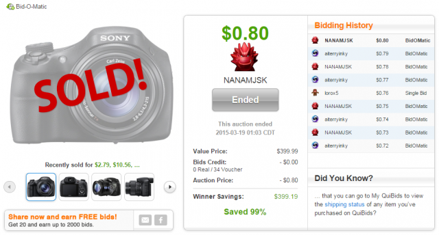 Sony Cyber Shot 20MP Digital Camera sold on QuiBids for $0.80!
