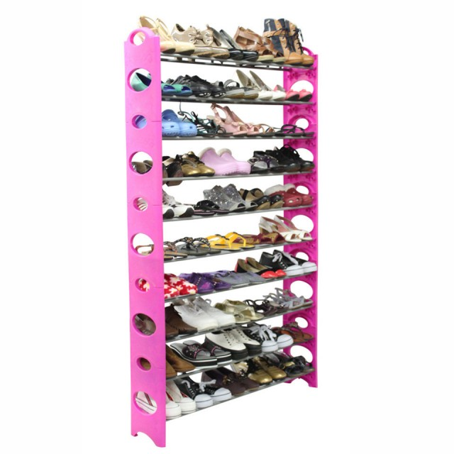 Studio 707 Pink 50 Pair Shoe Rack