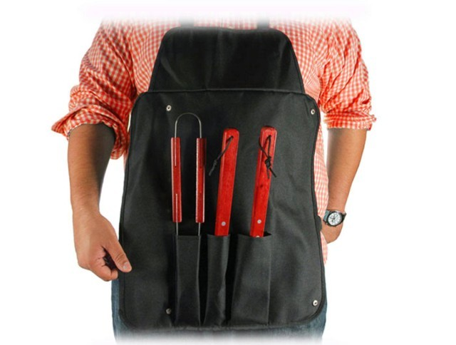 Bbq Apron 4Pc Tool Set