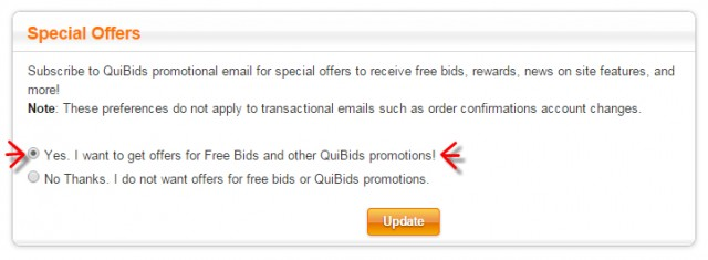 Special Offers QuiBids Email Newsletter Sign Up