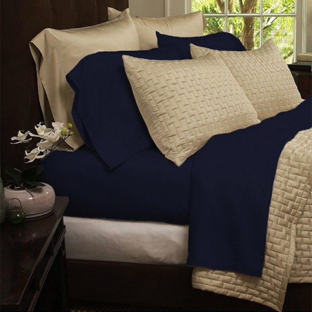 Hotel Comfort 1800 Series Organic Bamboo Bed Sheets - Navy