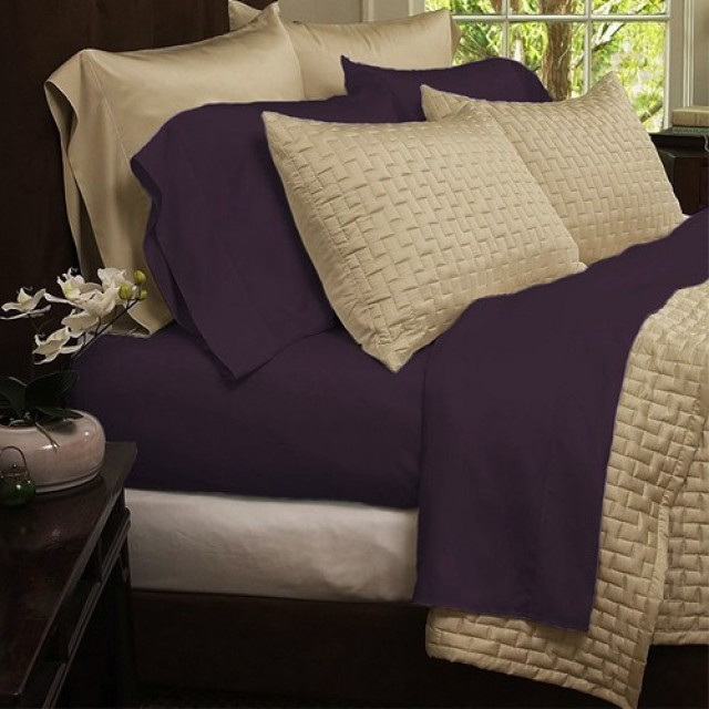 Hotel Comfort 1800 Series Organic Bamboo Bed Sheets - Purple