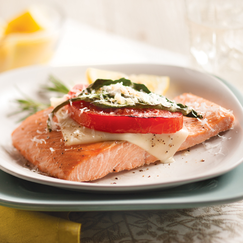 Baked Wild Salmon with Tomato, Mozzarella and Basil
