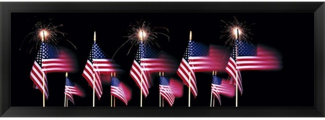 US Flags And Fireworks by Panoramic Images