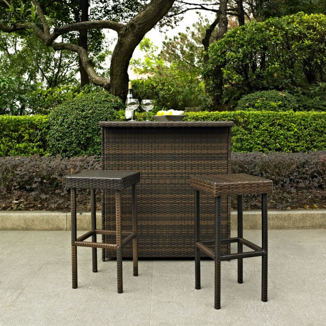 Crosley Palm Harbor 3-Piece Wicker Bar Set