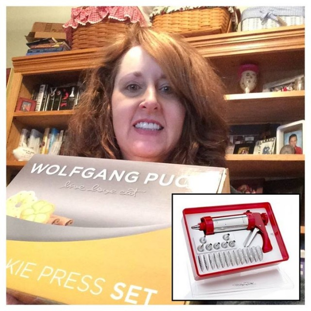 Connie saved 99% when she won this Wolfgang Puck Cookie Press Set on QuiBids for $0.30 using only 12 voucher bids!