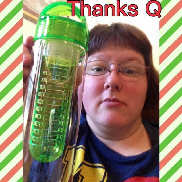 Virginia used 3 voucher bids to win this water bottle for only $0.06! #QuiBidsWin