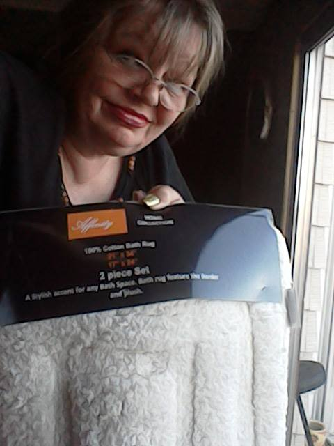 Cathy won this luxurious bath rug set for  $0.01 using only 1 voucher bid! #OneBidWin