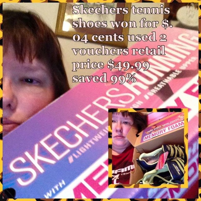 Virginia won these Sketchers for $0.04 using 2 voucher bids! #QuiBidsWin