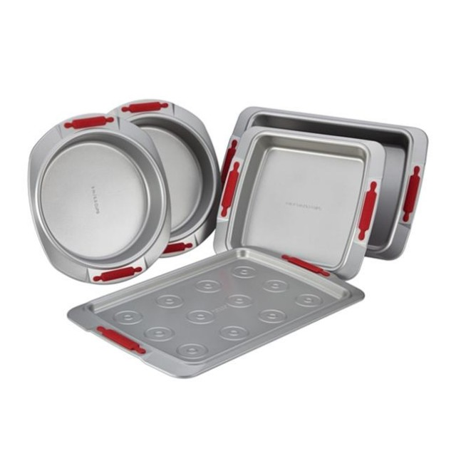 Cake Boss Deluxe Nonstick Bakeware 5-Piece Bakeware Set with Silicone Grips