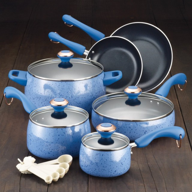 Paula Deen 15-Piece Signature Porcelain Nonstick Cookware Set - Blueberry Speckle