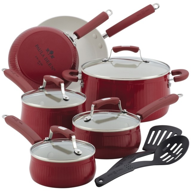 Paula Deen Aluminum Savannah Collection 12-Piece Nonstick Cookware Set - Red