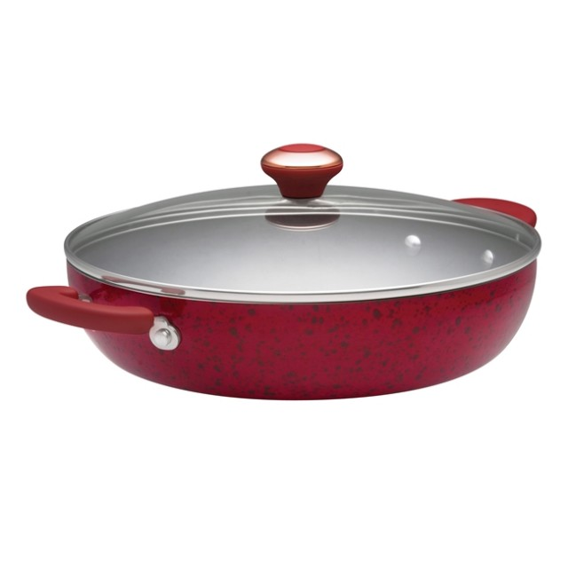 Paula Deen Signature Porcelain 12-Inch Covered Chicken Fryer - Red Speckle