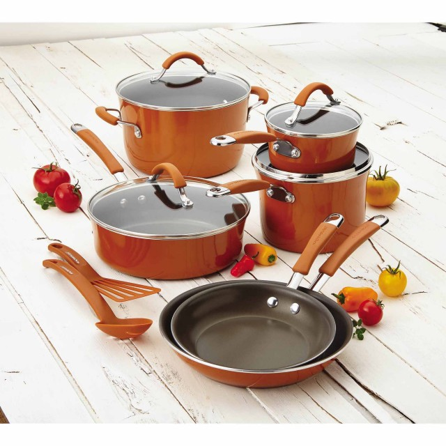 Rachael Ray Cucina Hard Enamel 12-Piece Nonstick Cookware Set - Pumpkin Orange