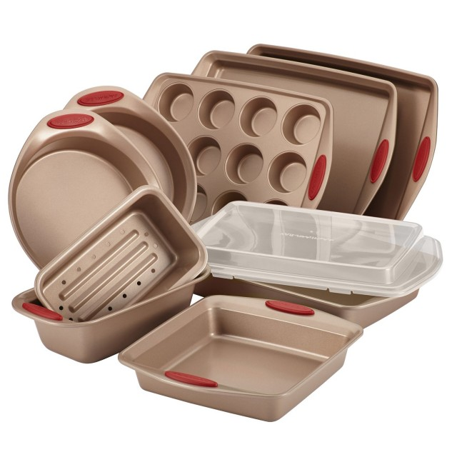 Rachael Ray Cucina Nonstick Bakeware 10-Piece Set - Latte Brown with Cranberry Red Handle Grips