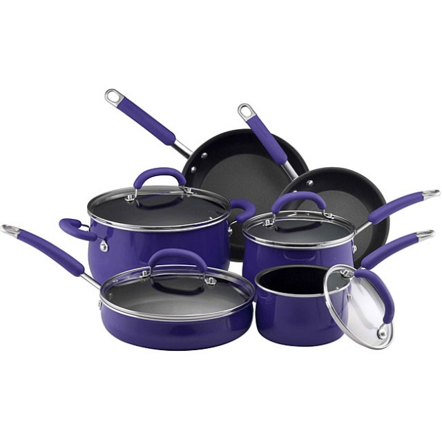 Rachael Ray Hard Enamel Nonstick 10-Piece Cookware Set - Blue