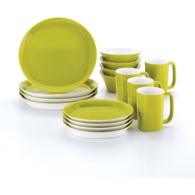 Rachael Ray 16-Piece Round and Square Dinnerware Set - Green Apple